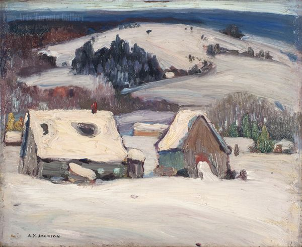 A.Y. Jackson - Baie St. Paul 9.5 x 12 Oil on panel (1951)