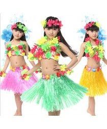 Green fuchsia green rainbow Girls kids children child baby grass hula belly dance modern dance stage performance grass dance dresses costumes jazz dance dresses