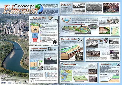 Geoscape Edmonton is an illustrated poster of interesting geological facts, features and history in and around Edmonton, Alberta.