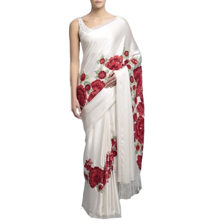 Designer saree in ivory color with floral embroidery – Panache Haute Couture