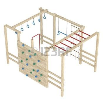 Wooden jungle gym or climbing frame with handholds, footholds and ropes isolated on a white background photo