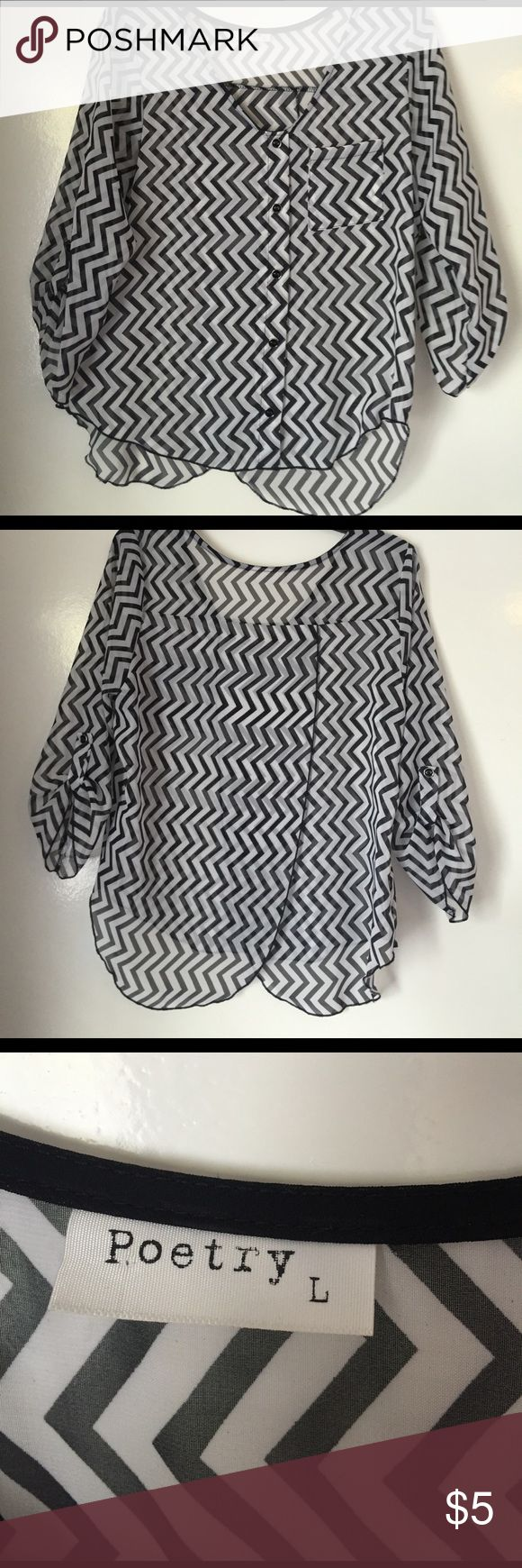 Black and white chevron shirt Super cute black and white chevron shirt that opens in the back. Worn twice, open to offers! Poetry Tops Button Down Shirts