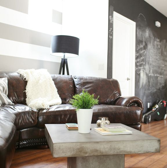 .: Leather Couch, Living Room, Grey Wall, Chalkboards Wall