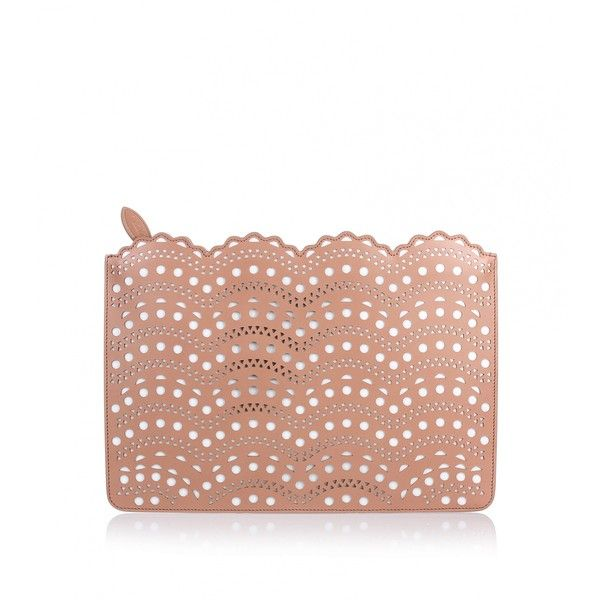 Alaïa Nude leather cut-out clutch (1,709,100 KRW) ❤ liked on Polyvore featuring bags, handbags, clutches, beige, real leather handbags, nude purses, zipper purse, beige purse and beige leather handbag