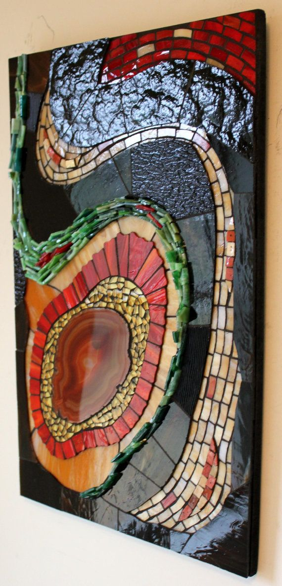 Stained Glass Glass Mosaic Art Agate Abstract by GlassArtsStudio. Agate as the feature