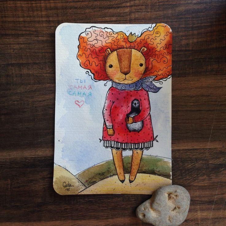 Покорительница Антарктиды #painting #art #watercolor #technique  #lion   #живопись #искусство #акварель #техника #Лев