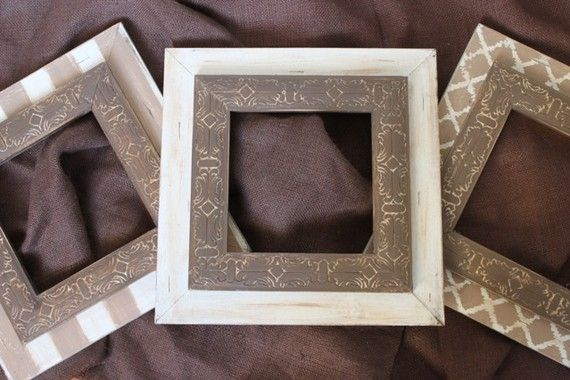 Custom Wall Grouping, Set of 3 -8x8's Wood Distressed Neutral Picture Frames,Mirror,cork board ANY colors for your home
