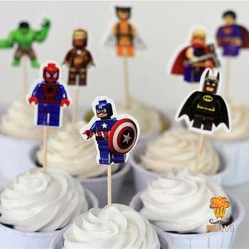 24 stuks de lego batman avengers superman iron man cake toppers cupcake gevallen kinderen verjaardag partij decoratie picks candy bar