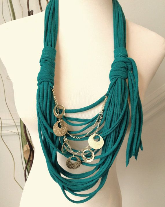 Scarf Necklace:  Antique Jade with Gold Chain and Links