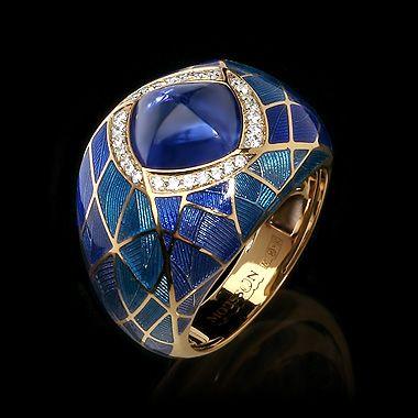 Mousson atelier, Four Seasons collection, ring, Yellow gold 750, Tanzanite 4,72 ct., Diamonds, Enamel