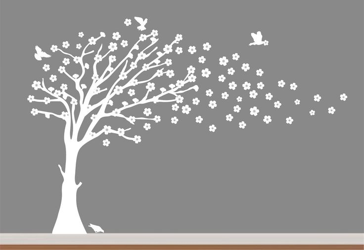 White Cherry Blossom Tree Children Nursery Wall Decal