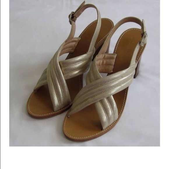 J. Crew Gold Sandal Heels J Crew Marcie Suede Criss Cross Sandals Heels Metallic Gold Size 7, perfect for any season or outfit J. Crew Shoes Heels