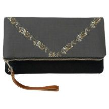 Decorative Chic Gold Black Linen Fold-Over Clutch