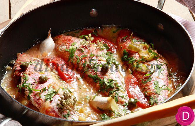 Μπαρμπούνια Φλεριανός, στο τηγάνι με ντομάτα και κάππαρη   Dina Nikolaou