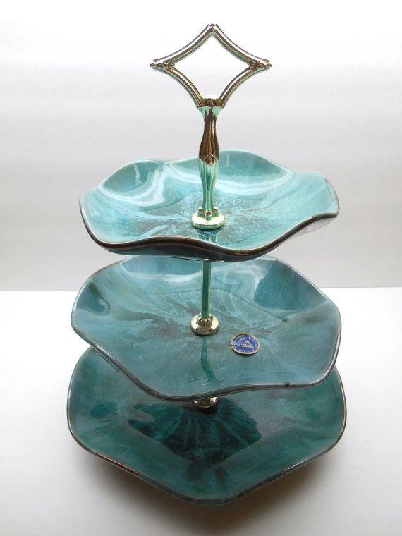 Vintage 3 Tier, plat, plateau de Blue Mountain Pottery désert de service