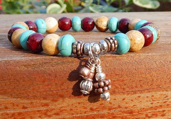 Beaded bracelets for women Boho Bracelet Beaded by BlueStoneRiver