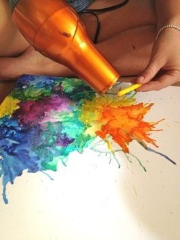 "Crayon Art. Use a blow dryer to melt the crayons while ""splattering"" the melted wax onto a piece of paper or a canvas!"
