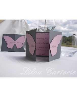 Menu pour mariage ou bapteme papillon