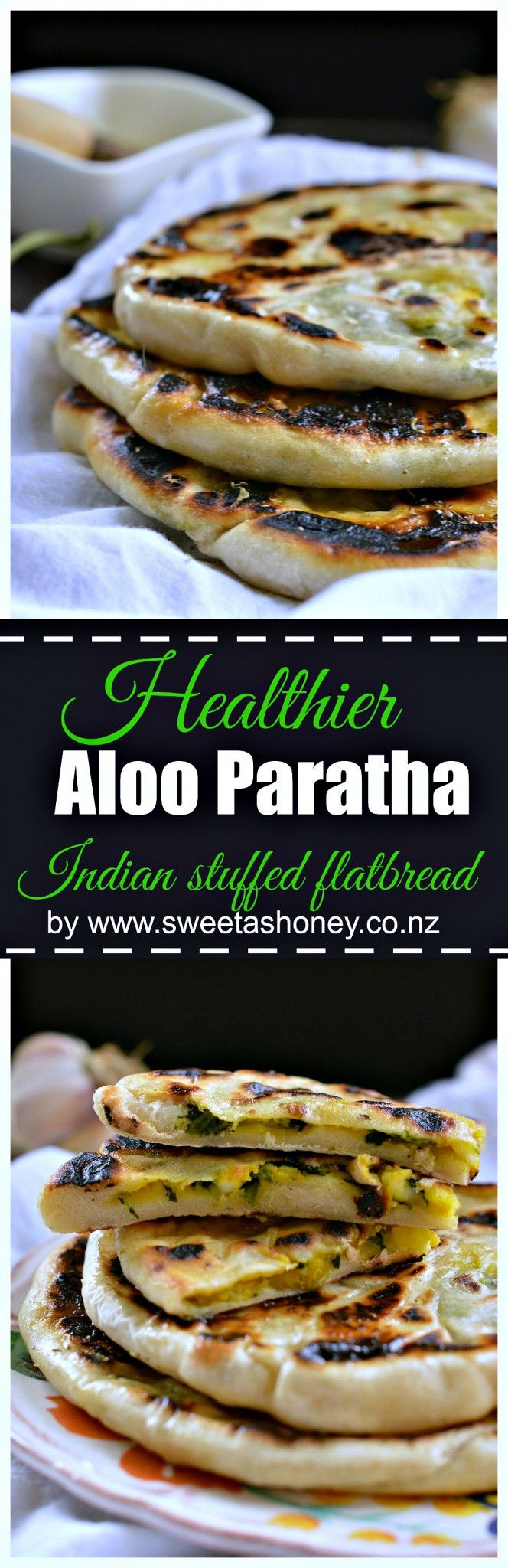 Aloo Paratha (Indian Stuffed FlatBread made healthier using spelt flour, spinach, sweet potatoes and coconut oil). by sweetashoney.co