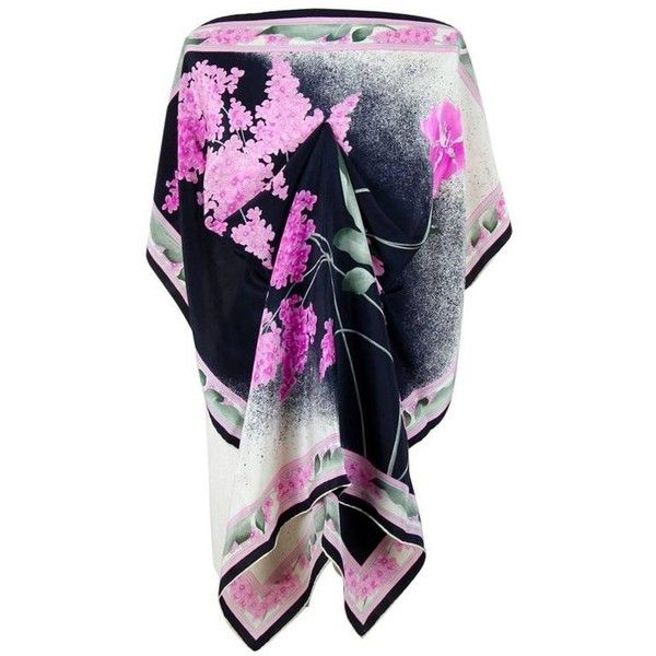 Preowned Léonard Paris 1970s Black Lilac Pink Floral Print Silk Scarf... ($274) ❤ liked on Polyvore featuring men's fashion, men's accessories, men's scarves, pink, scarves, mens silk scarves, mens vintage silk scarves and vintage mens accessories
