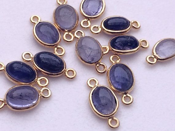 Iolite Connectors 5 Pcs Iolite Plain Oval 925 by gemsforjewels