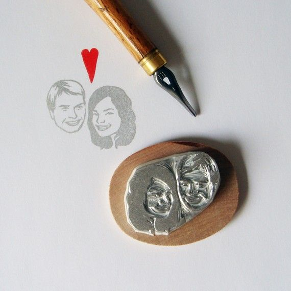 Custom / couple portrait / handcarved rubber stamp for Invites, etc! By Lilimandrill on Etsy