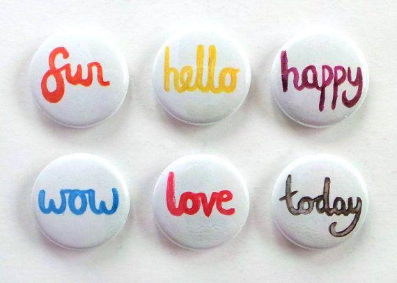 Watercolour Words Flair Buttons Scrapbooking Flair Badges