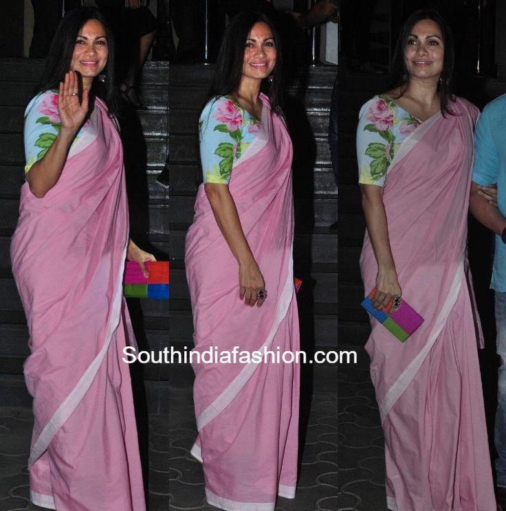 Maria Goretti in a plain saree and floral blouse 5