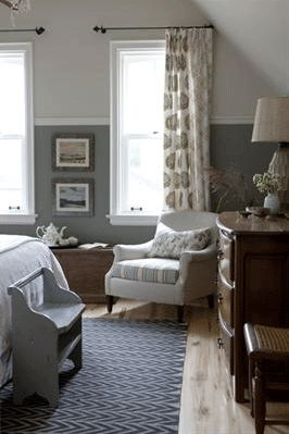 """""""Sarah's House"""", the farmhouse ~ the north bedroom ~ a peak at the seating area... I love the landscape prints on the wall."""