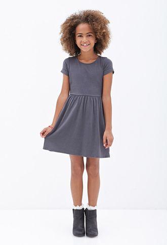 Cuffed-Sleeve Jersey Dress (Kids) | FOREVER21 girls - 2000066782