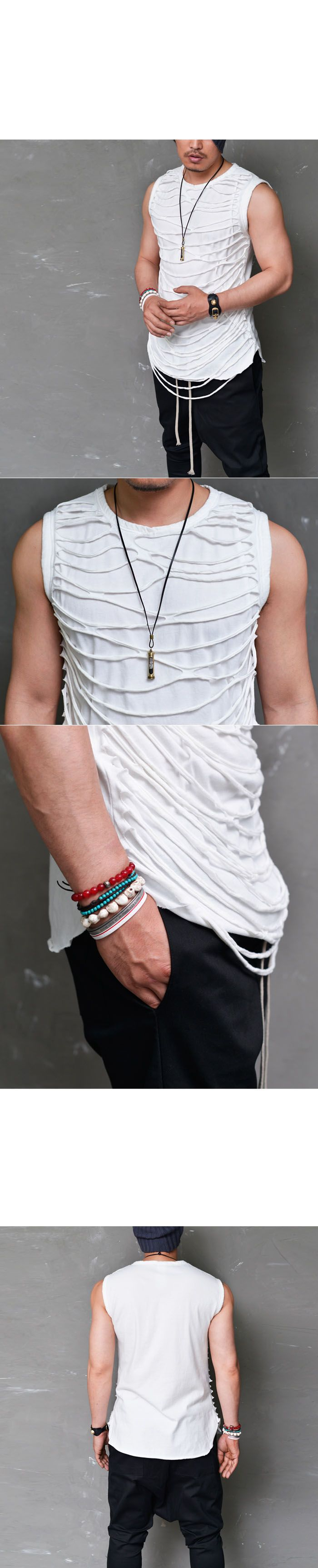 Tops :: Avant-garde Web Layer Slim Tank-Tank 110 - Mens Fashion Clothing For An Attractive Guy Look