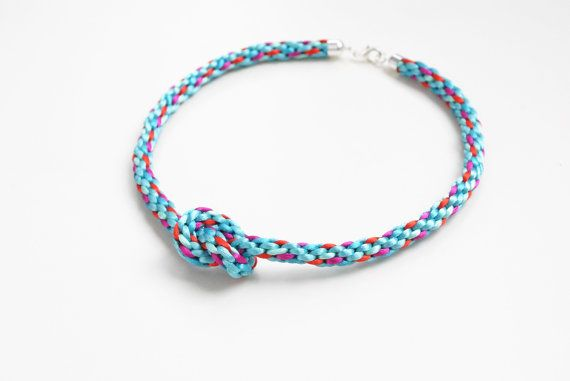 Multicolor satin cord braided necklace knot by elfinadesign