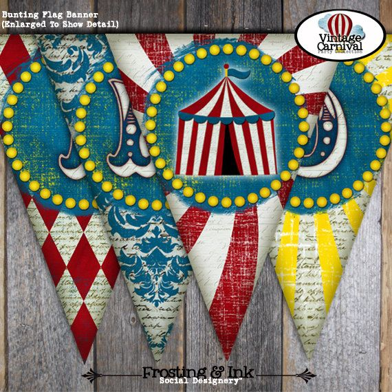 Carnival Baby Shower - Circus Baby Shower - Bunting Banner - Customized Printable - A La Carte (Vintage Inspired). $10.00, via Etsy.