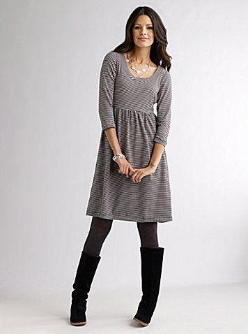 work clothes: gray empire waist dress, black leggings, boots