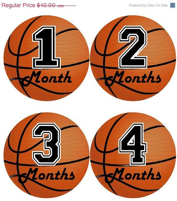 Baby Monthly Milestone Growth Stickers In Basketball Sports MS505 Nursery  Theme Baby Boy Shower Gift Photo Prop