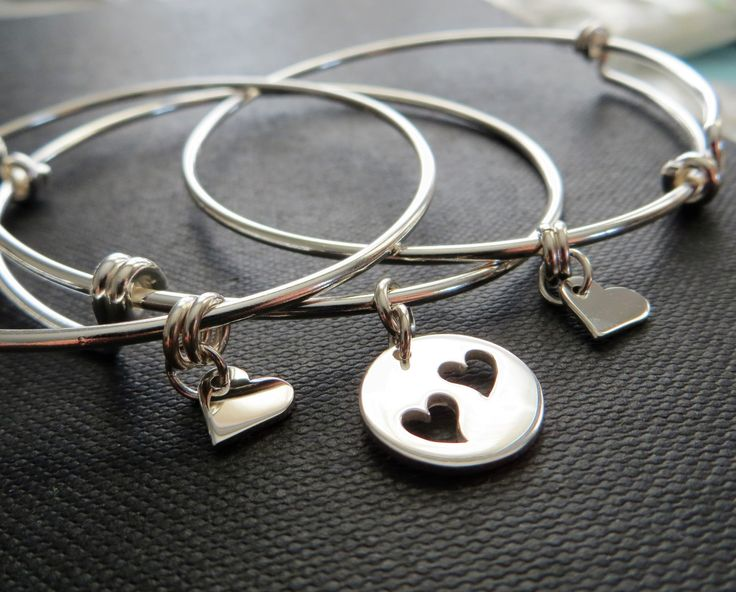 Mother daughter bangle sets, mom jewelry, mother and two daughters bracelet, sterling silver heart cutout charm bangles, gift