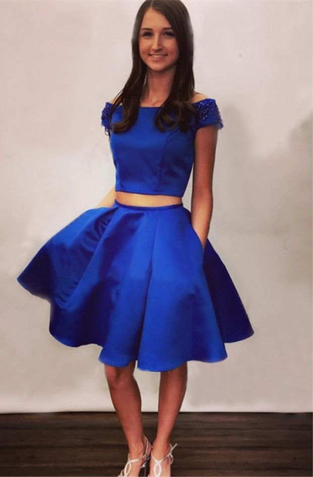 440cf1a0960 Two Piece Off-the-Shoulder Knee-Length Royal Blue Homecoming Dress ...