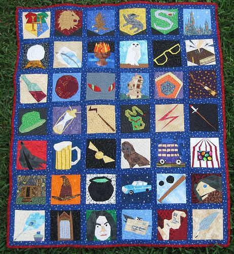 """Jennifer Ofenstein's foundation-pieced Harry Potter tribute quilt, My Magical Lens: """"This quilt is more than just a million bits of fabric stitched together.  It represents all the years I've loved Harry Potter and some of my favorite things about the series."""" Click through to her blog for links for the patterns."""