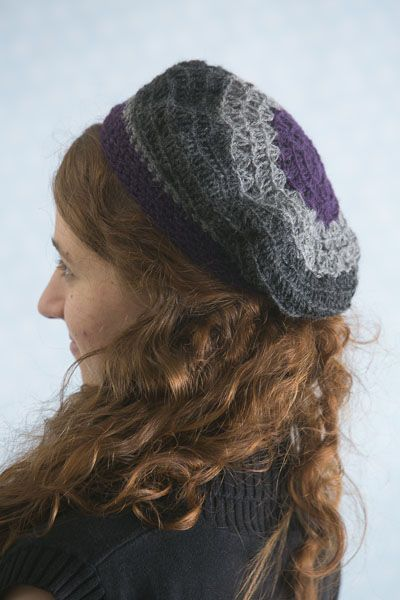 Plum Mist Beret - Spring weather means that hats can be less bulky and more of an accessory. The Plum Mist Beret is just that — a lovely little hat that's reminiscent of a stroll through the streets of Paris. From the April 2015 issue of I Like Crochet