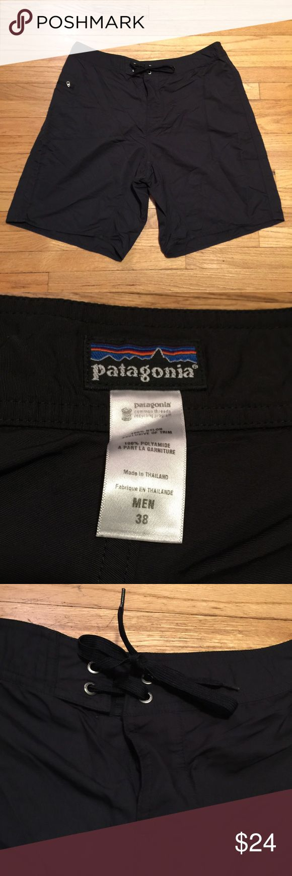 Patagonia men's black board shorts - sz 38 Patagonia men's black board shorts - sz 38. Waist - 18 inches. Rise - 12 inches. Length - 21.5 inches. Excellent condition. Patagonia Shorts