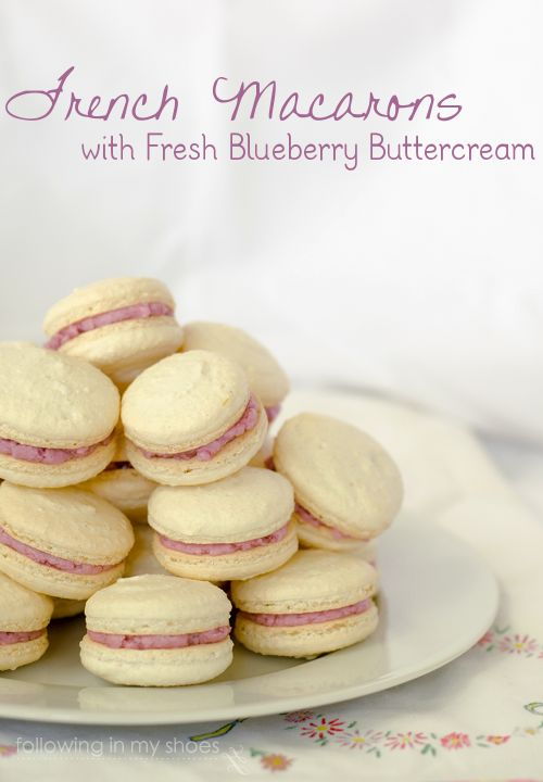 Macarons with fresh Blueberry Buttercream. I doubt ill ever make these cause they are probably a ton of work but they look delicious.
