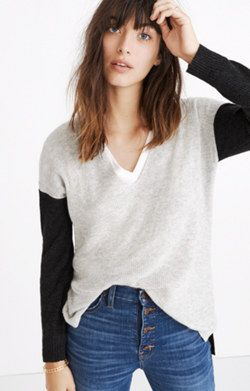 de107ac44a Warmlight V-Neck Pullover Sweater in Colorblock · Pullover SweatersMadewell
