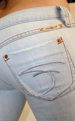 Frankie B Jeans Light Wash Distressed PocketBlue Silver F 8 x 35 Long Flare