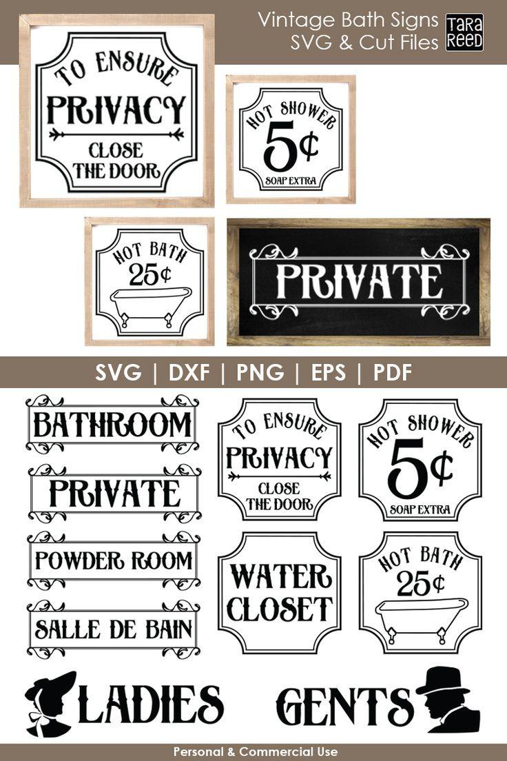 Vintage Bathroom Signs Bundle With Images Bath Sign Bathroom