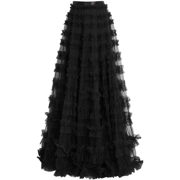 Rachel Gilbert Black Ruffle-trimmed Tulle Maxi Skirt - Size 2 ($1,940) ❤ liked on Polyvore featuring skirts, long flounce skirt, ruffled skirt, long skirts, ankle length skirts and rachel gilbert