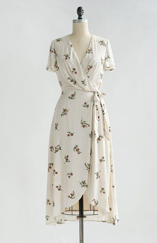 Vintage Inspired Floral Wrap Dress Feminine Floral Dresses Besotted Blooms Dress Wrap Dress Floral Feminine Floral Dresses Vintage Inspired Outfits