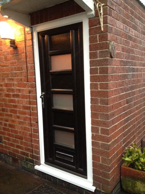 Bespoke front door in black UPVC (made to customer's specification)