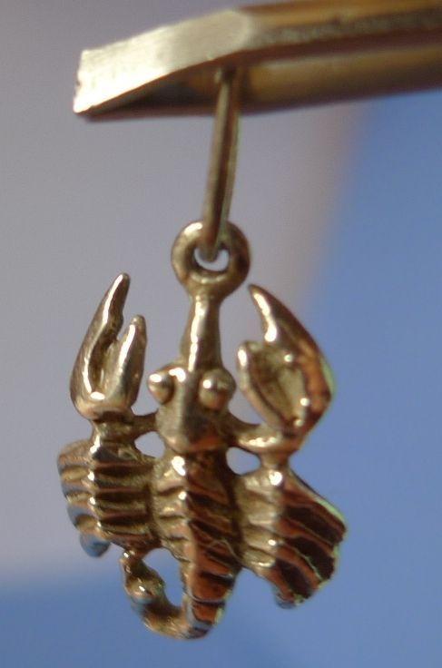 Vintage Soviet USSR jewelry Sterling SILVER 925 Pendant SCORPION Zodiac Scorpio