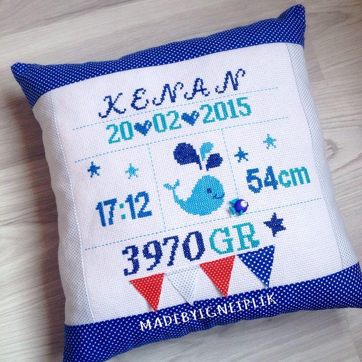 Cross stitch baby pillow