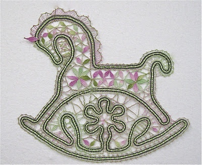 Rocking horse from Bridget's book. Mane's been adapted. No where near as stunning as Margaret's one.